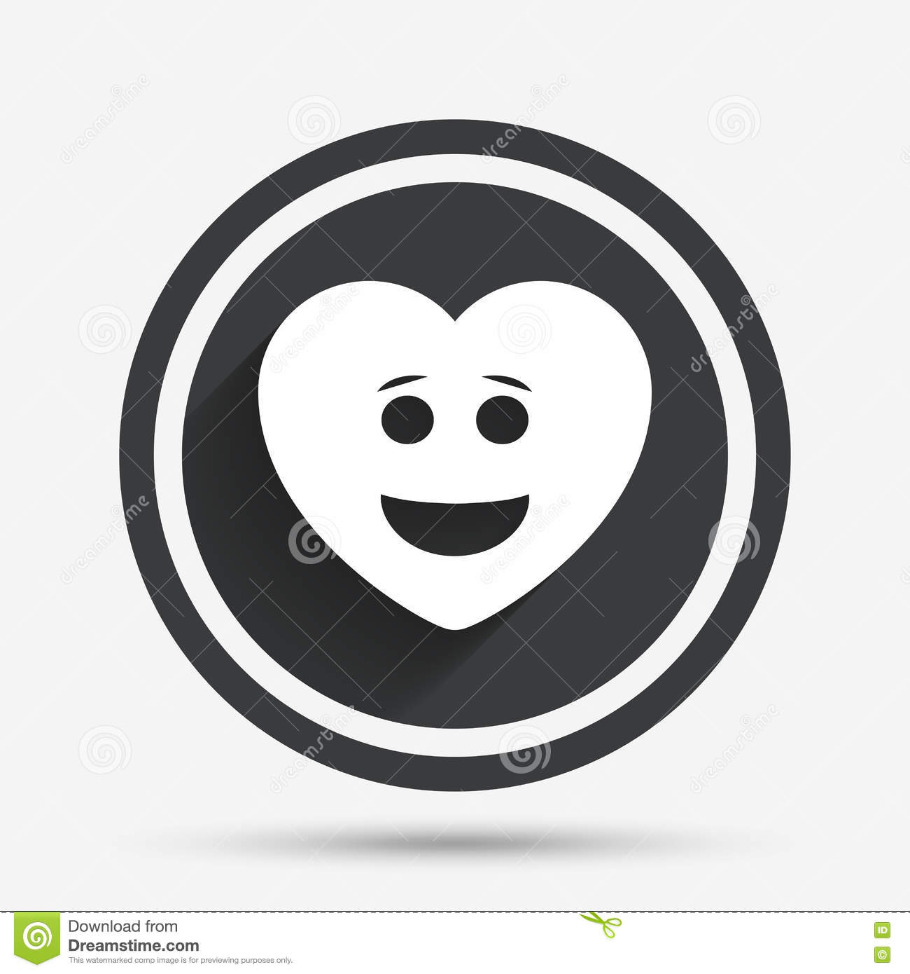 Smile Heart Face Icon Smiley Symbol Stock Vector Illustration Of