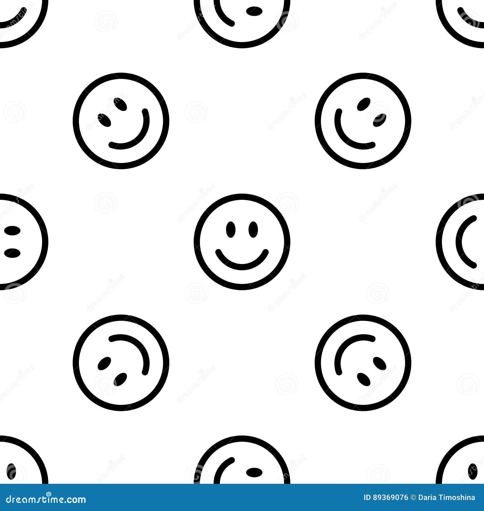 White Round Smile Emoji Seamless Pattern. Emoticon Icon ...