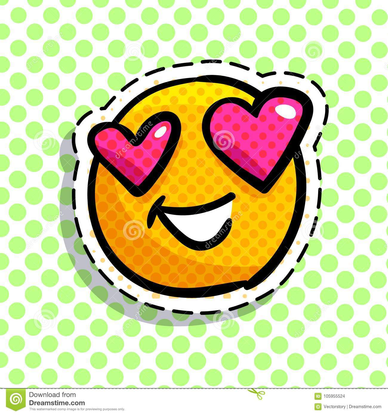 Happy smail in pop art style. Vector illustration.