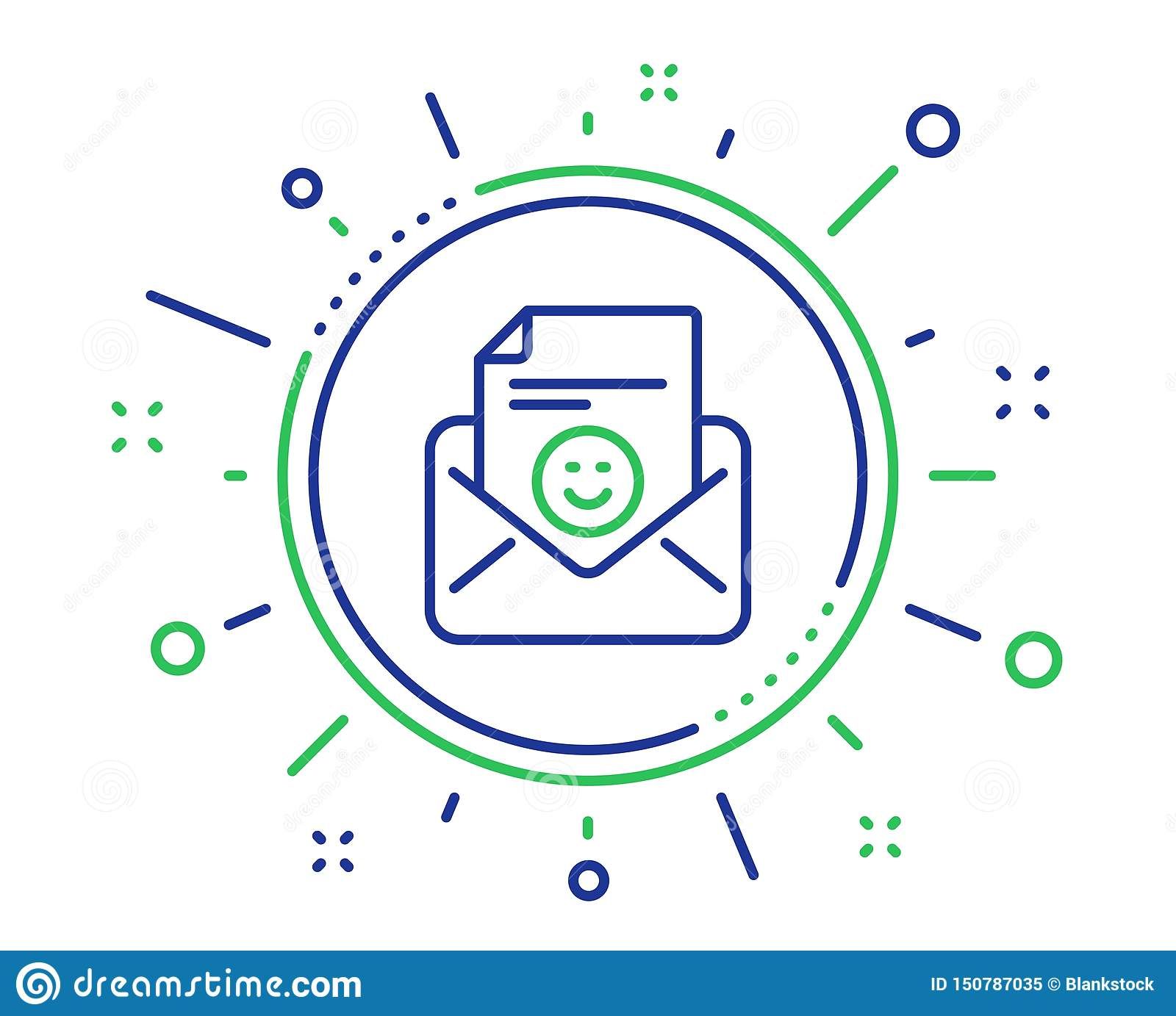 Smile mail line icon. Positive feedback letter sign. Vector