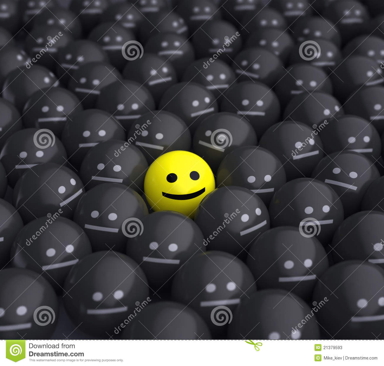Smile in the middle of grey crowd