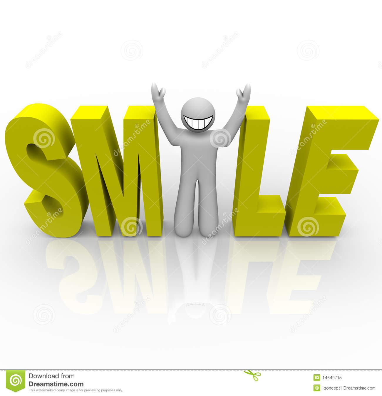 The word Smile in yellow letters and a man with a smiley face stands ...