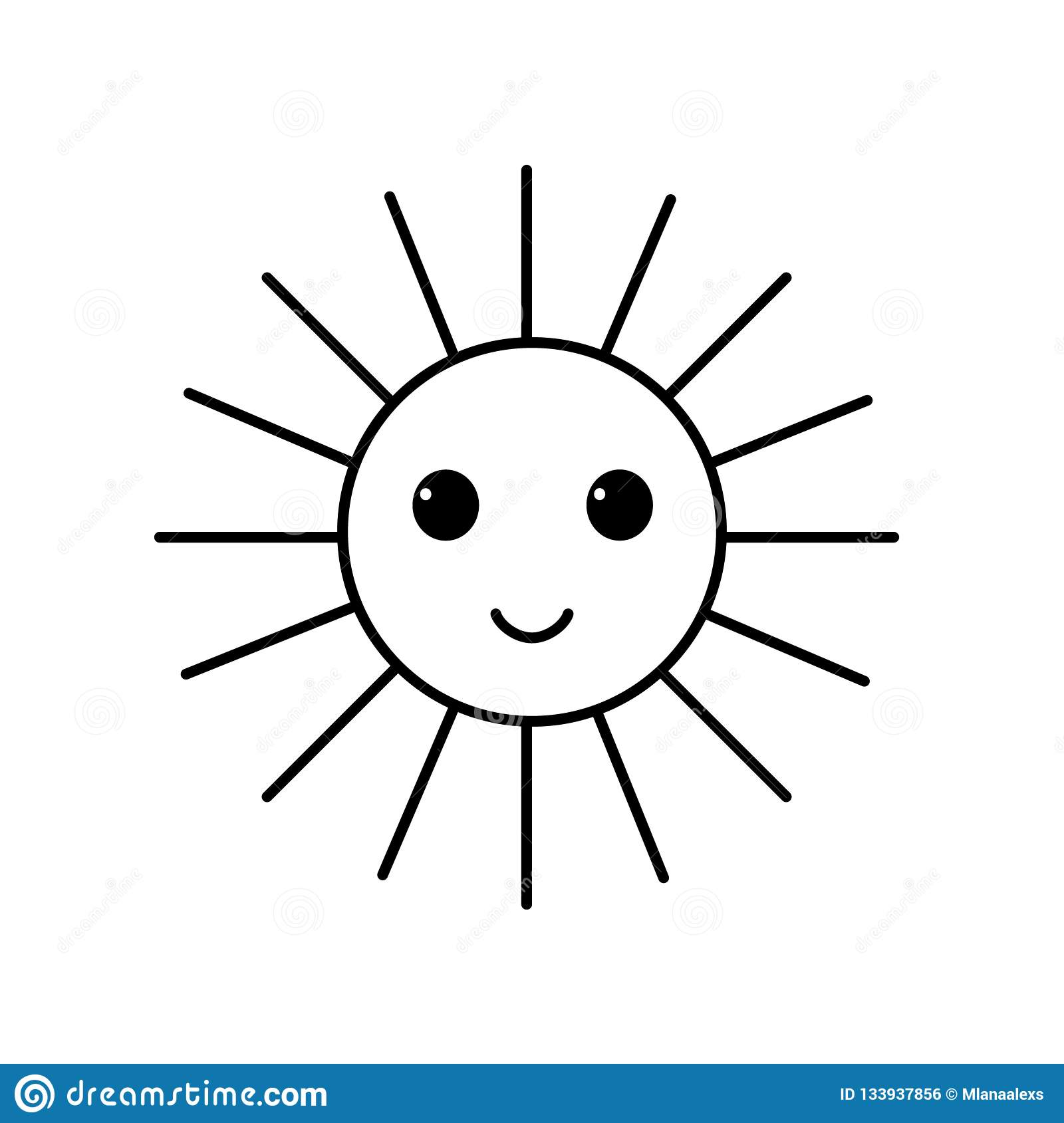 Smile Sun Symbol Black And White Icon Stock Vector Illustration Of