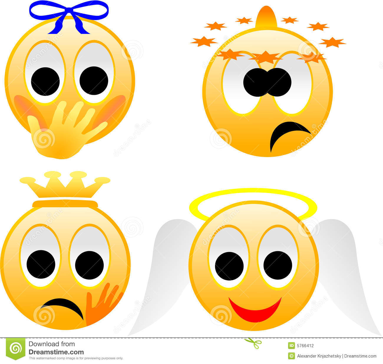 Comical images of emotions of the person. The image is executed in ...