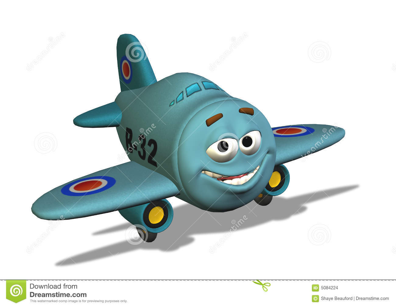 Smiley Airplane with Clipping Path