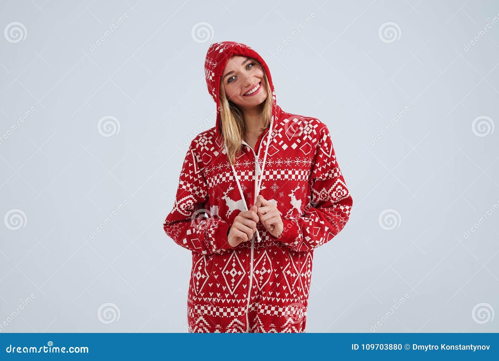 Smiley blond in christmas pajamas stock photo image of emotion