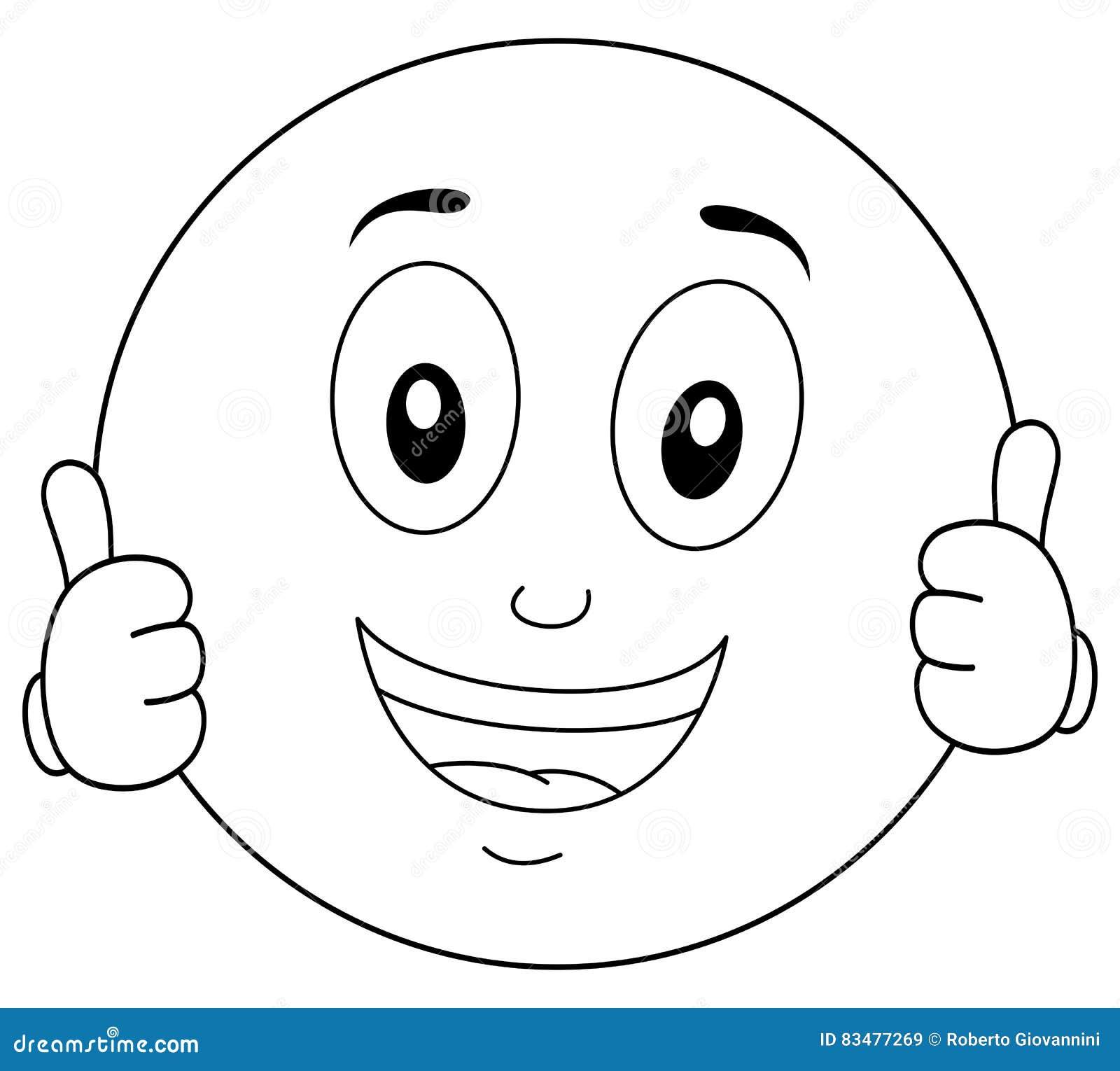 Smiley Character Thumbs Up Fresco Que Colorea Ilustración del Vector ...