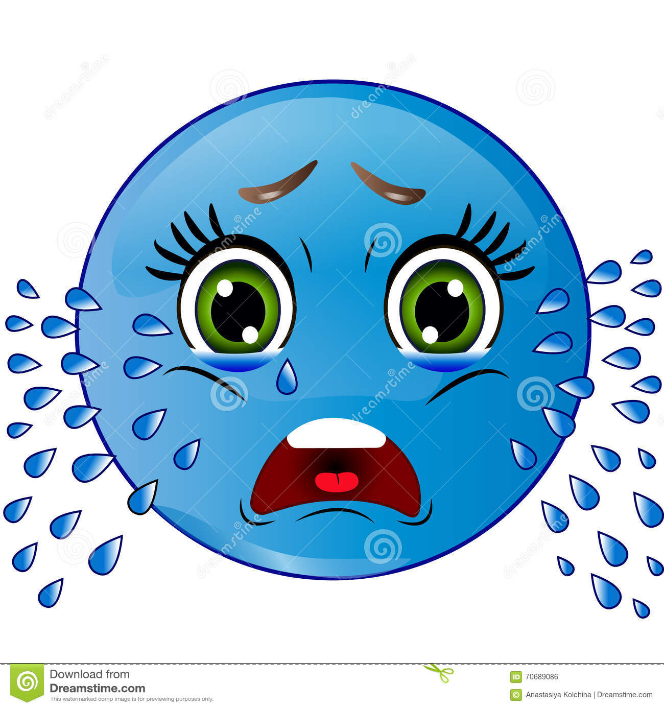 Smiley Is Crying Stock Vector Illustration Of Glossy 70689086