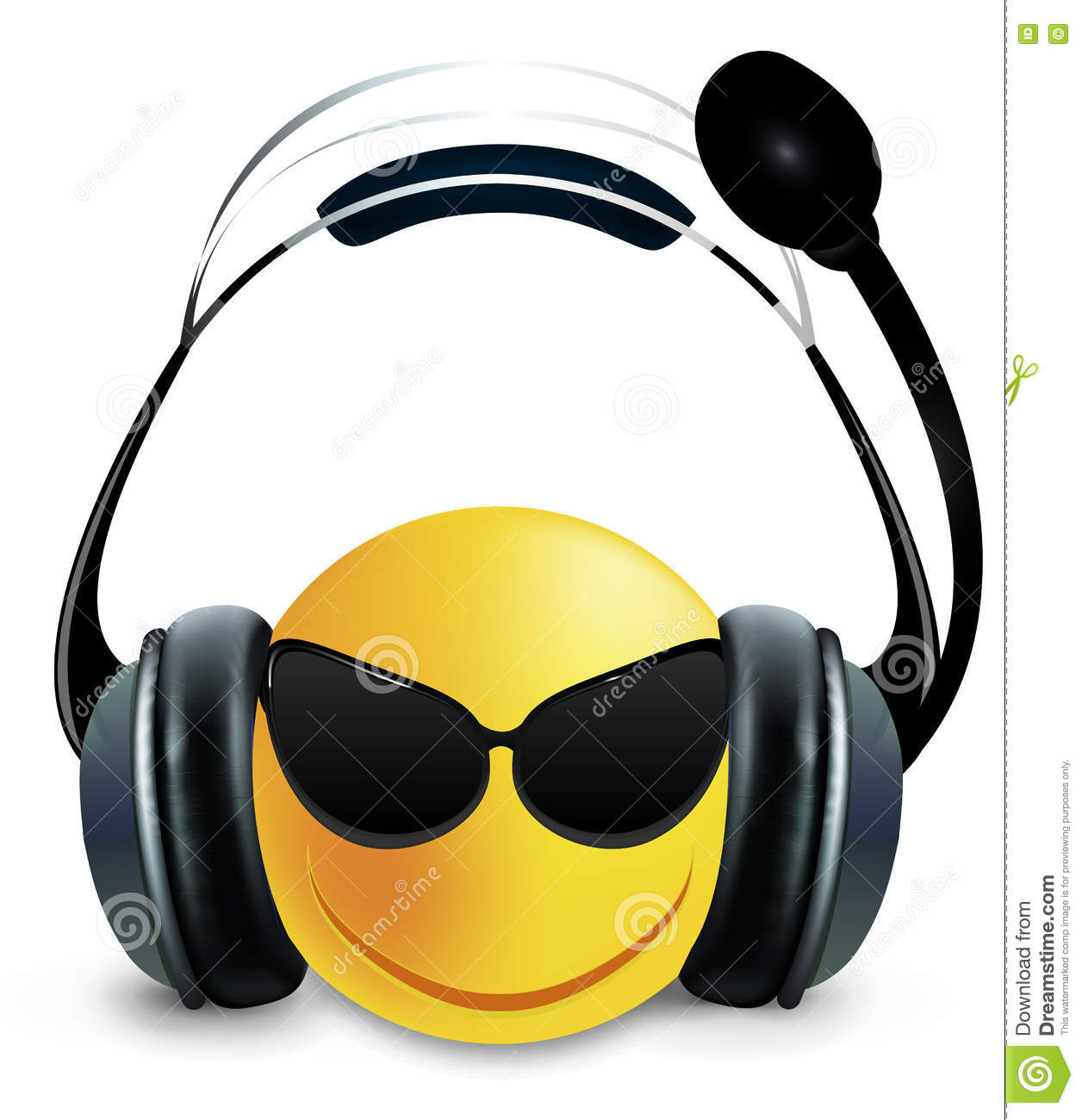 Smiley DJ with glasses and headphones