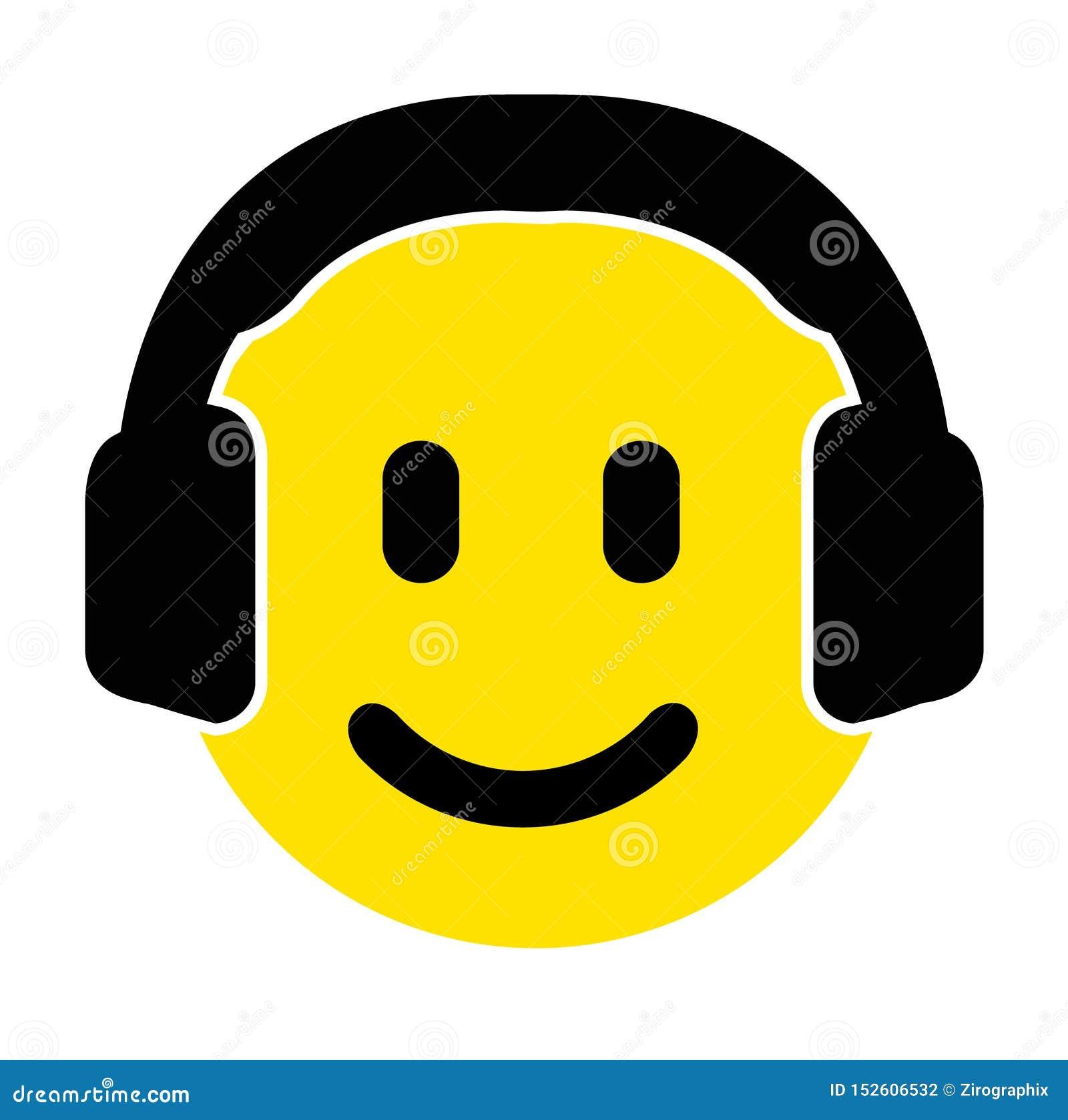 Smiley emoji twarz z śliczną słuchawki