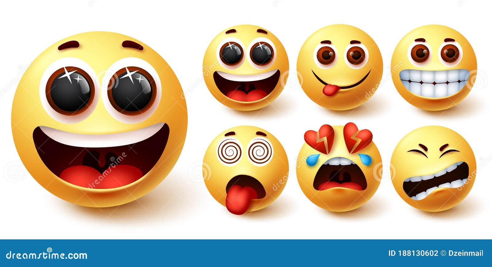 smiley emojis vector set smileys emoji yellow face happy excited hungry smiley emojis vector set smileys emoji yellow face 188130602