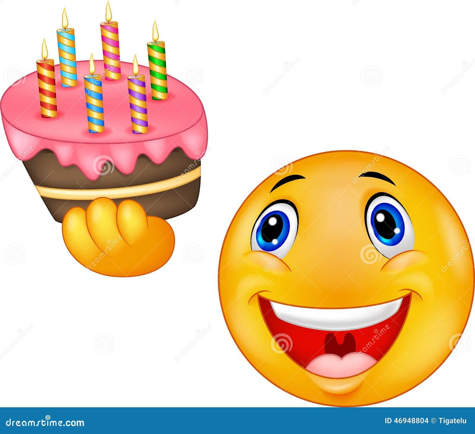 Smiley Emoticon Holding Birthday Cake Stock Vector - Illustration of ...