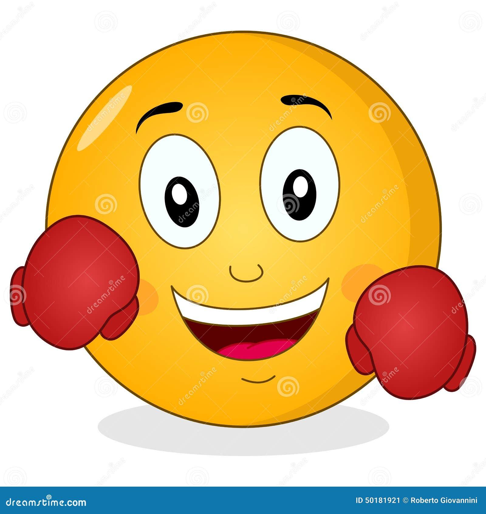 Emoticone Drole smiley emoticon mignon avec des gants de boxe illustration de