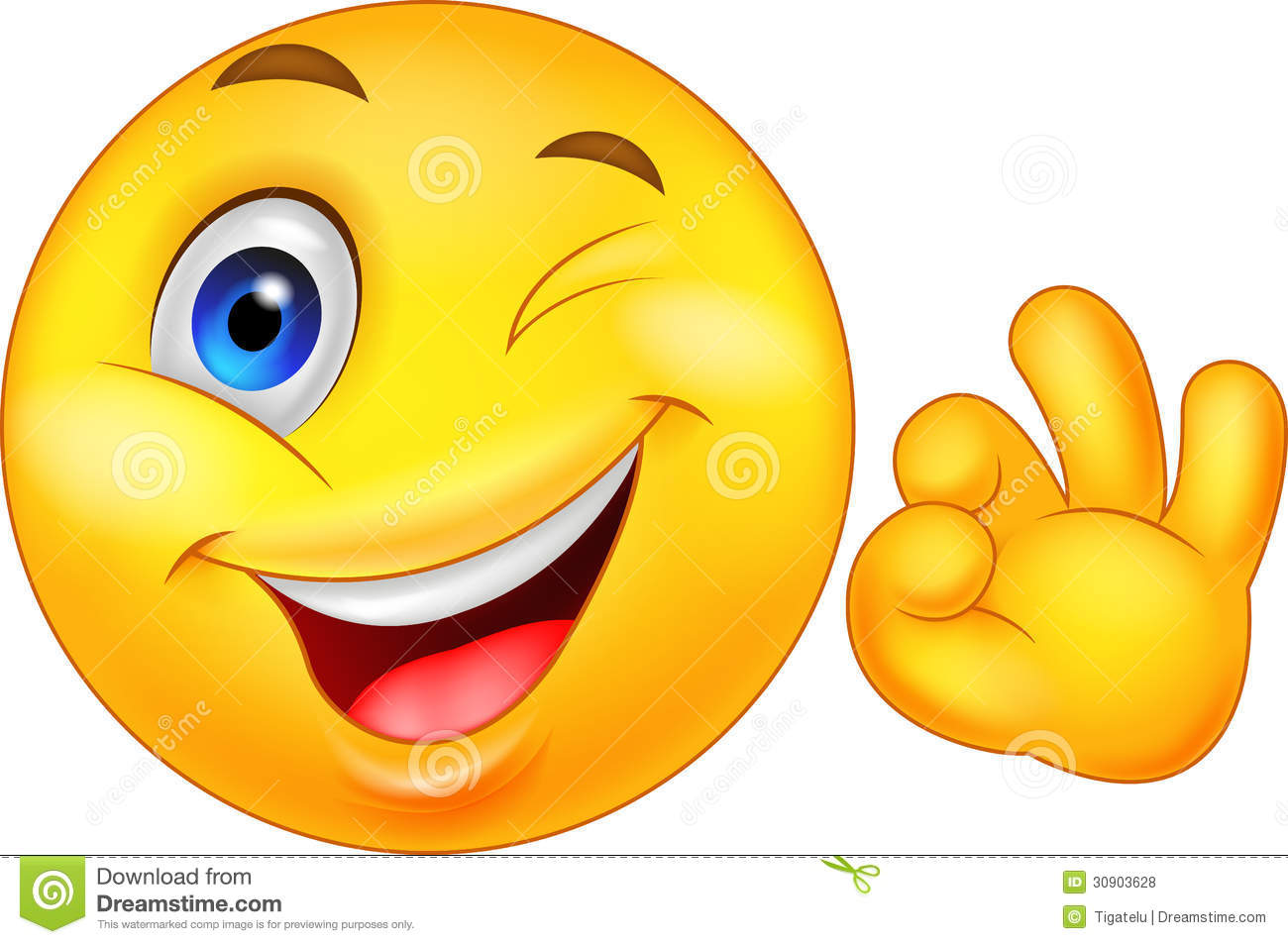 Writing Smiley Face Smiley emoticon with ok sign