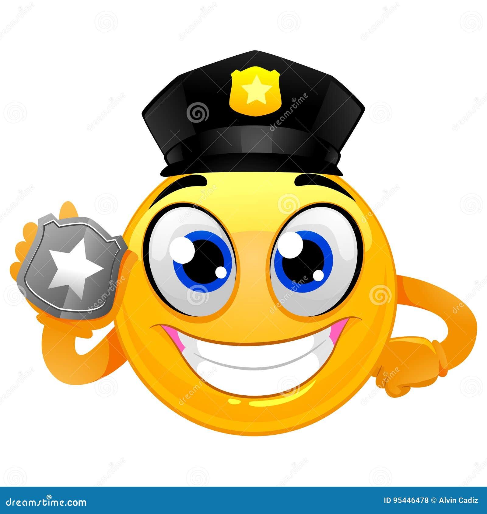 Smiley Emoticon policjant trzyma odznakę