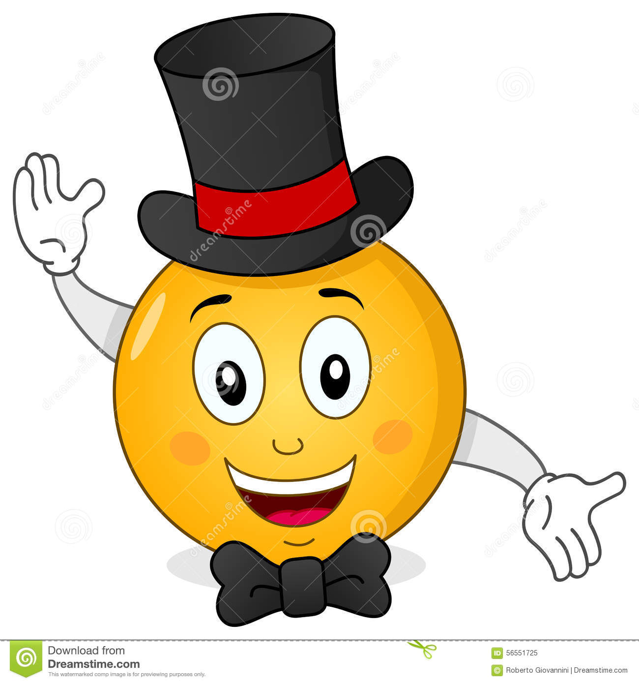... black top hat and a bow tie smiling, isolated on white background. Eps