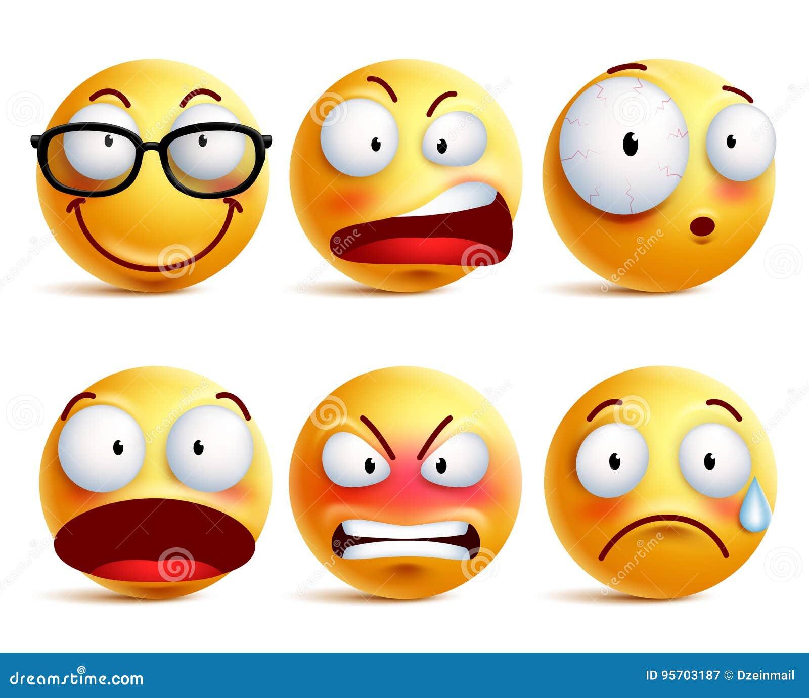 Smiley emoticons lub twarzy wektorowy ustawiający w kolorze żółtym z wyrazami twarzy