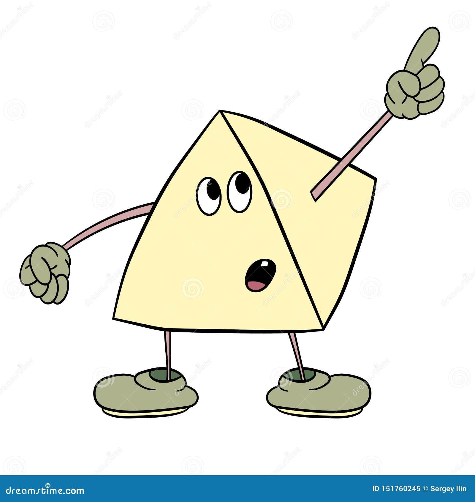 Smiley engraçado do triângulo com os pés e os olhos que mostram um dedo acima Esboço da cor da caricatura