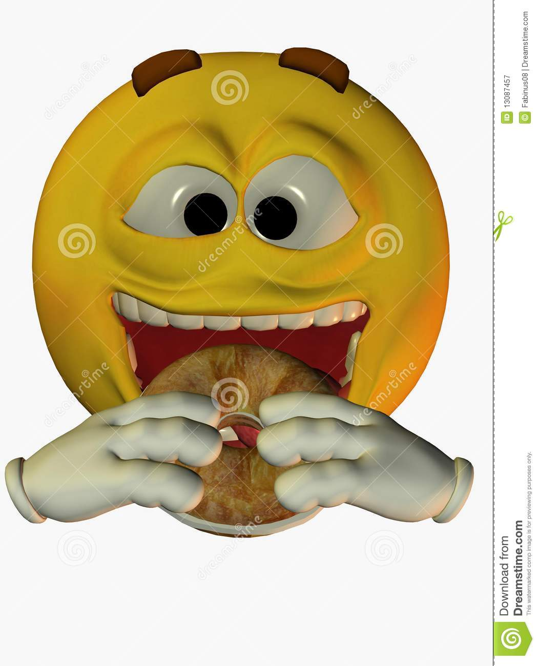 Stock Photo: Smiley face eating bagel. Image:
