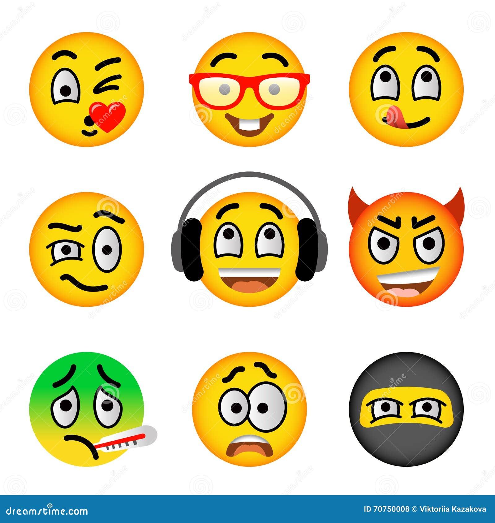 Smiley Face Emoji Flat Vector Icons Set Stock Vector Illustration