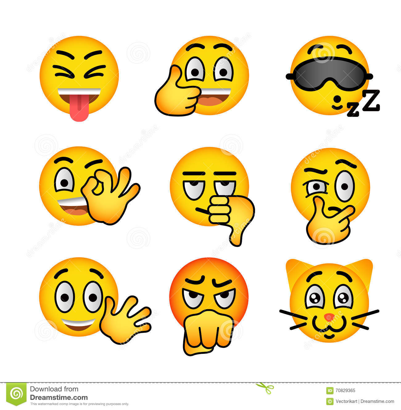 Smiley face emoji flat vector icons set stock vector smiley face emoji flat vector icons set buycottarizona Choice Image
