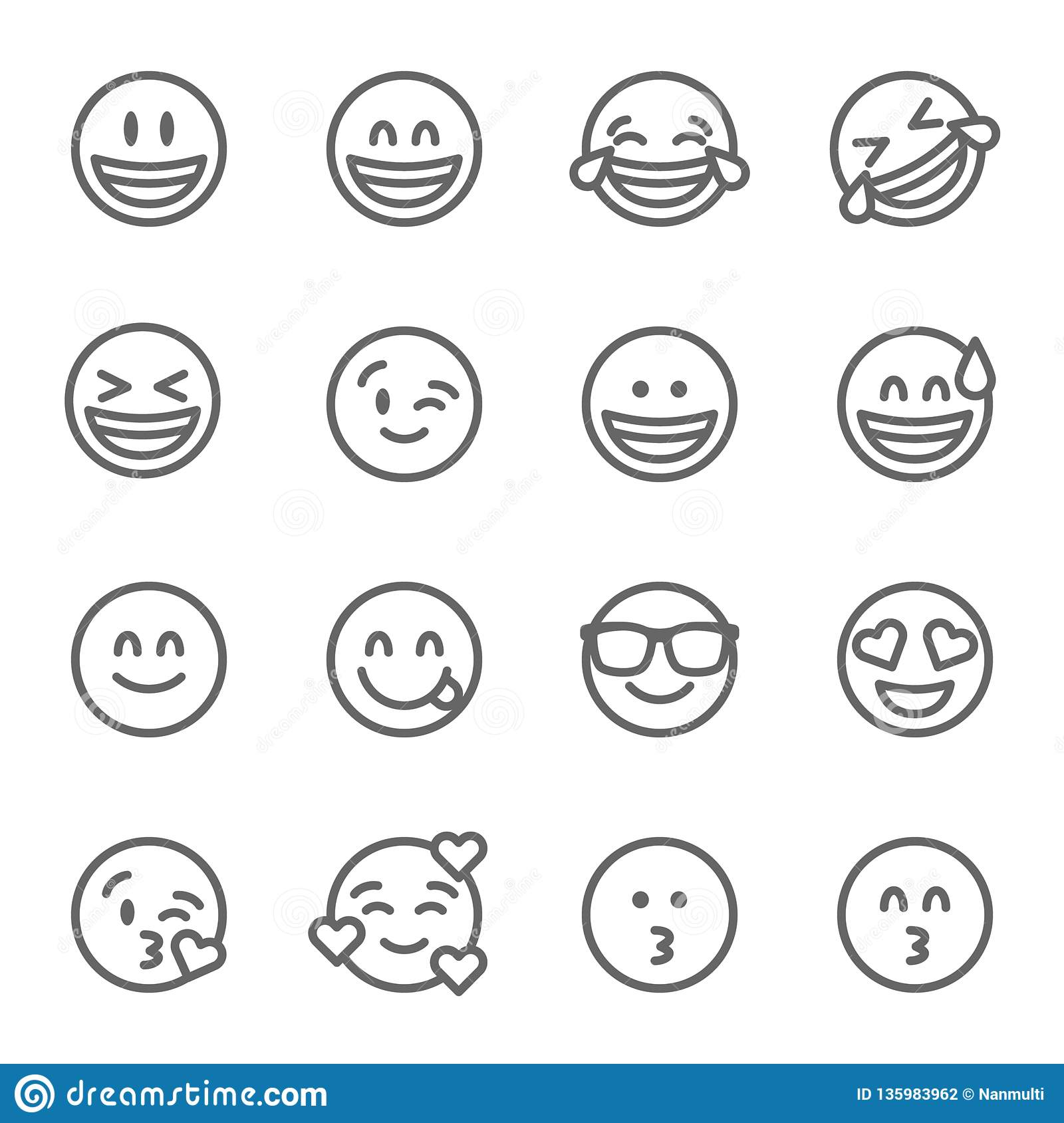 Smiley Face Emoji Vector Line Icon Set. Contains such Icons as Grinning Face, Smiling Face , Savoring and more. Expanded Stroke
