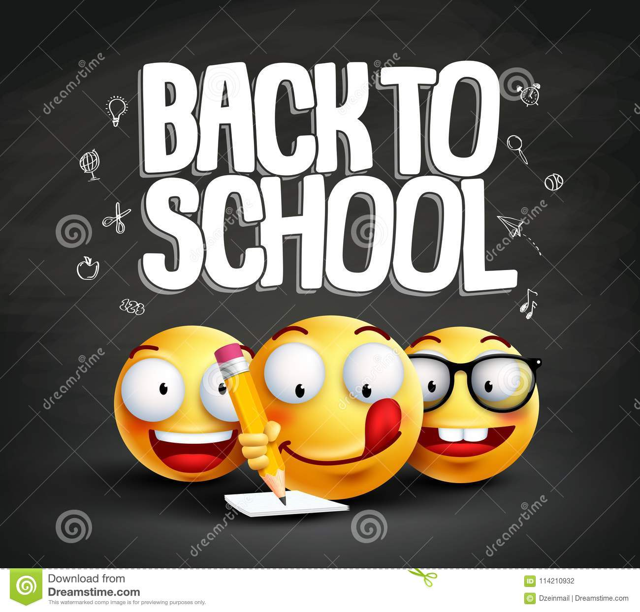 Smiley Face Emoticons And Back To School Text Vector Banner Design