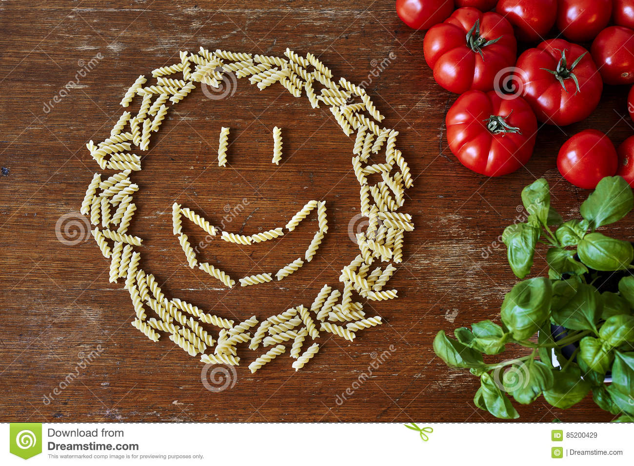 Smiley Face Formed Out Of Pasta Stock Image - Image of food, italian