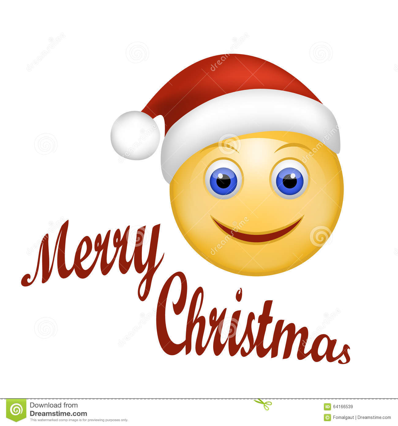 Smiley face happy santa claus face emoticon wearing santa hat stock