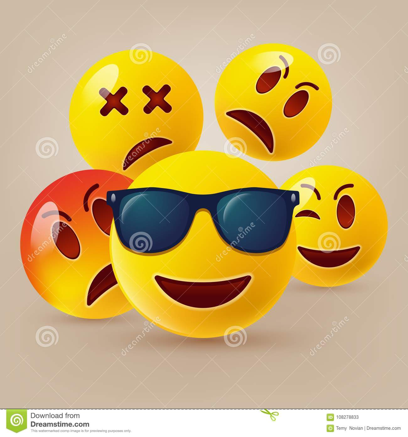 Smiley face icons or yellow emoticons with emotional funny faces in glossy 3D realistic