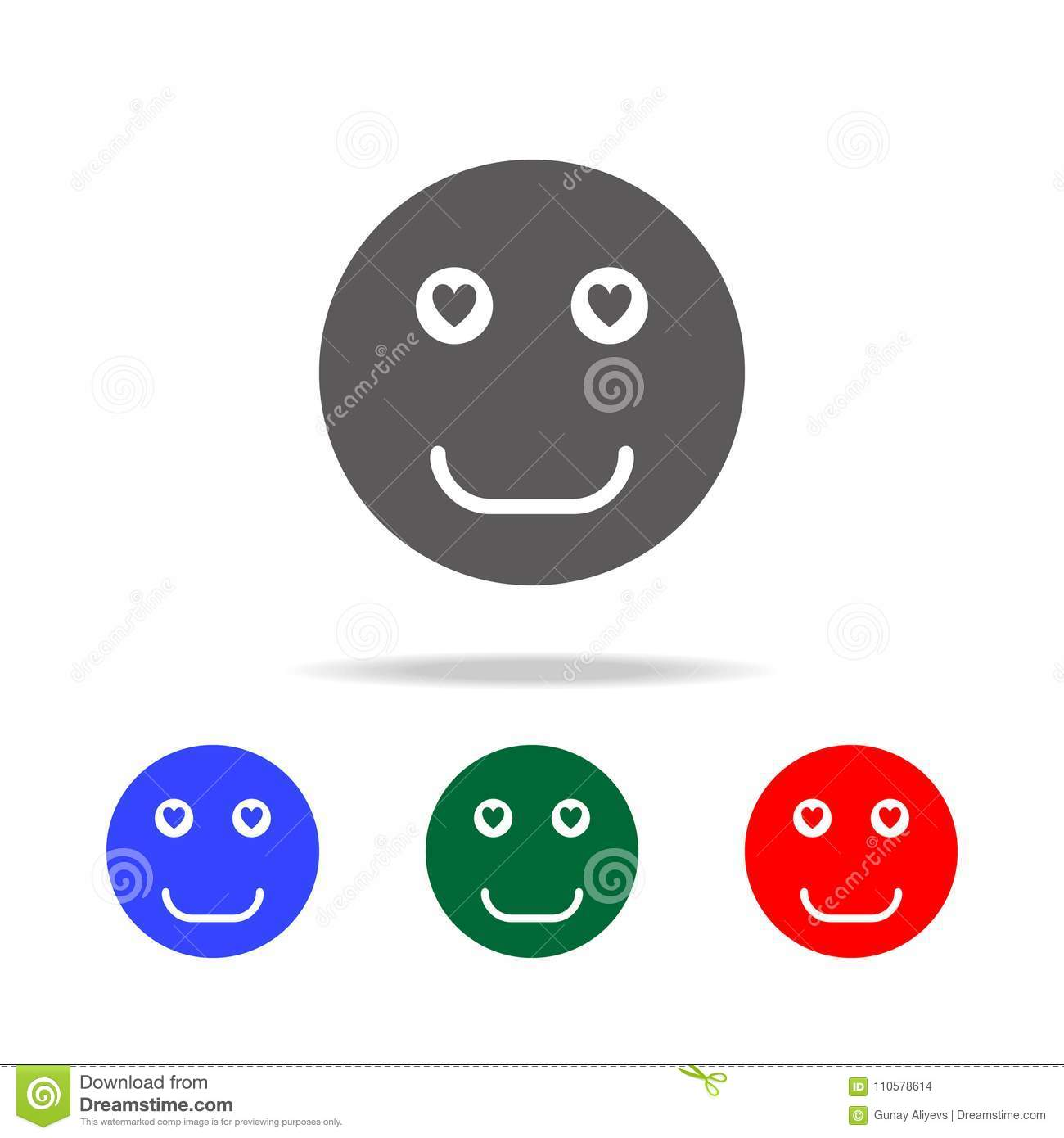 smiley face in love icon elements in multi colored icons for mobile