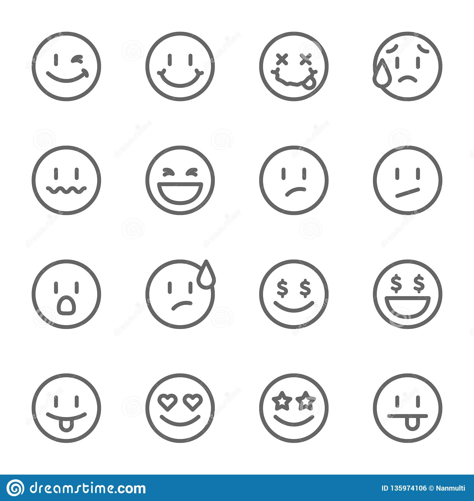 Smiley Face Vector Line Icon Set. Contains such Icons as Happy, Cheeky, Emoji and more. Expanded Stroke