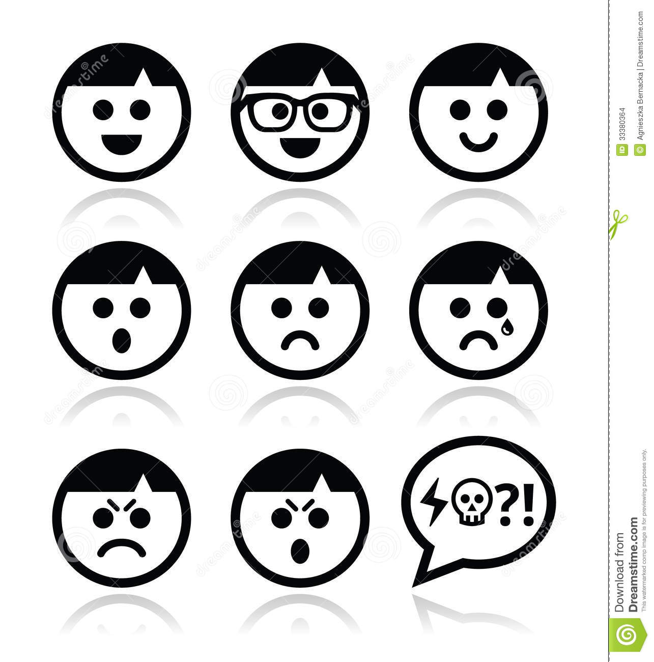Smiley Faces, Avatar Icons Set Stock Images - Image: 33380364