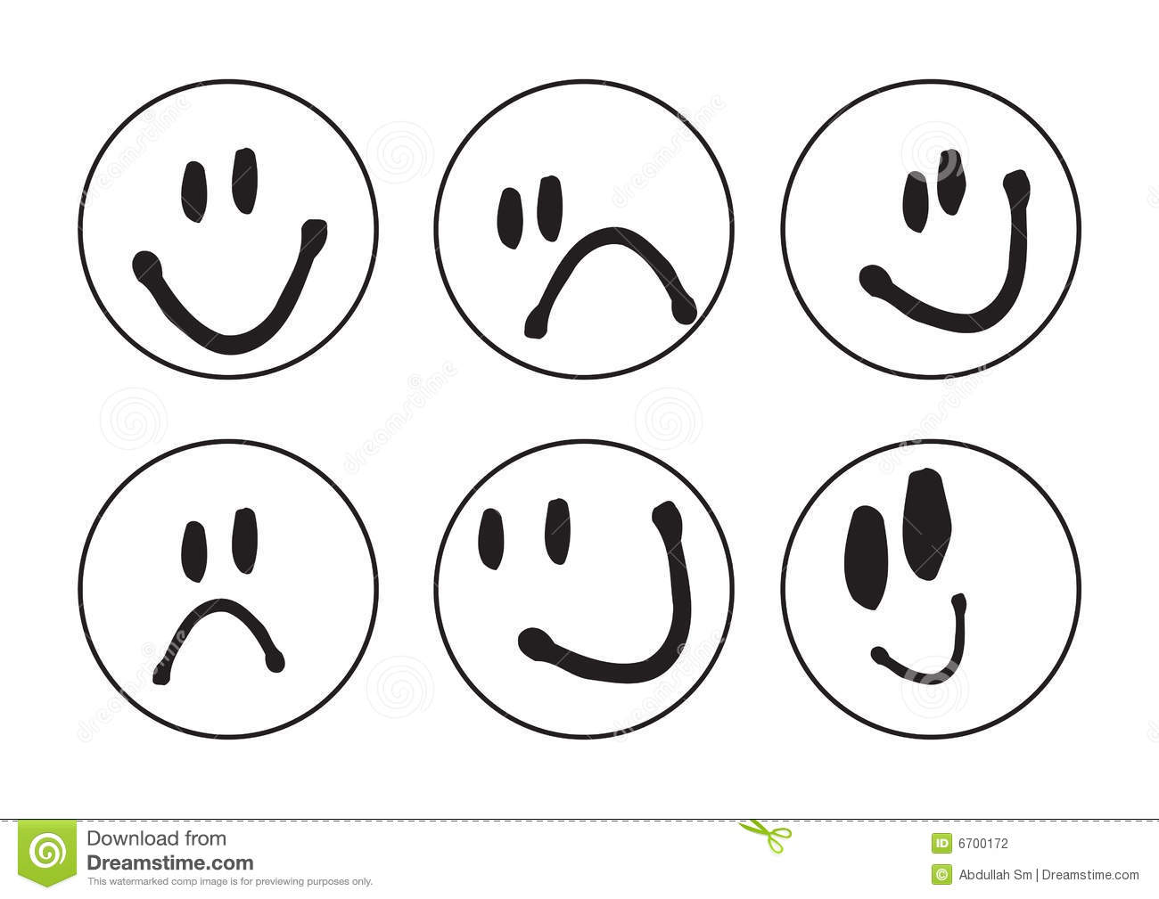 Six Clipart Black And White Smiley Faces - Vector ...