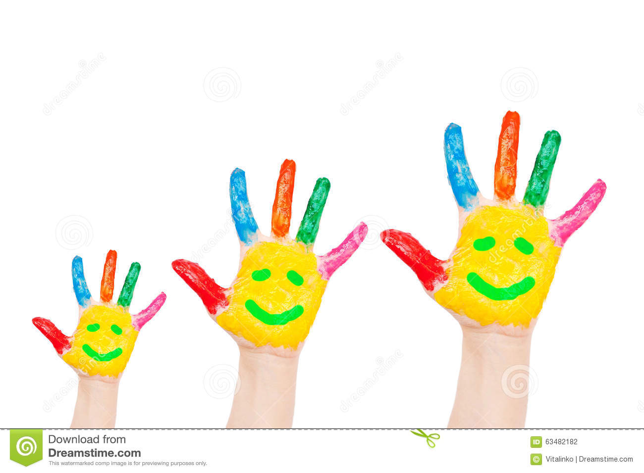 Smiley On Family Hands Having Fun Concept Stock Photo Image Of