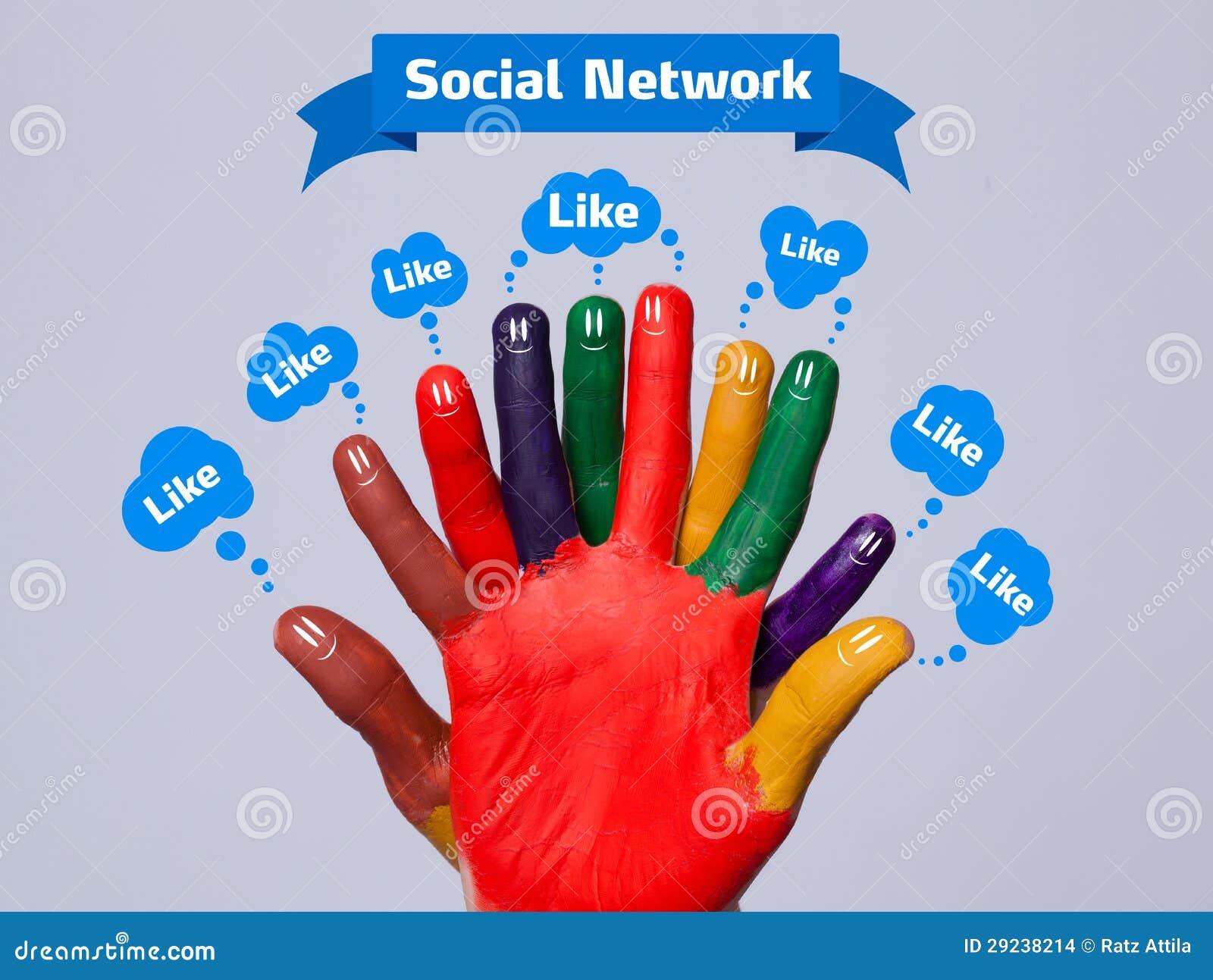 Download Smiley Felizes Coloridos Do Dedo Com Sinal Social Da Rede E Como Foto de Stock - Imagem de negócio, conexão: 29238214