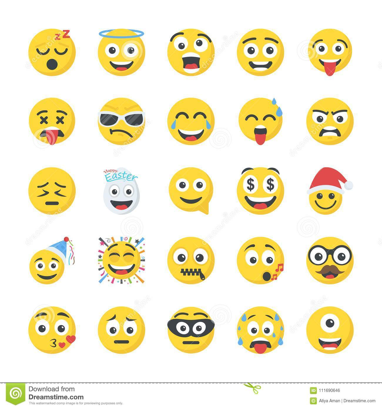 Smiley Flat Icons Set