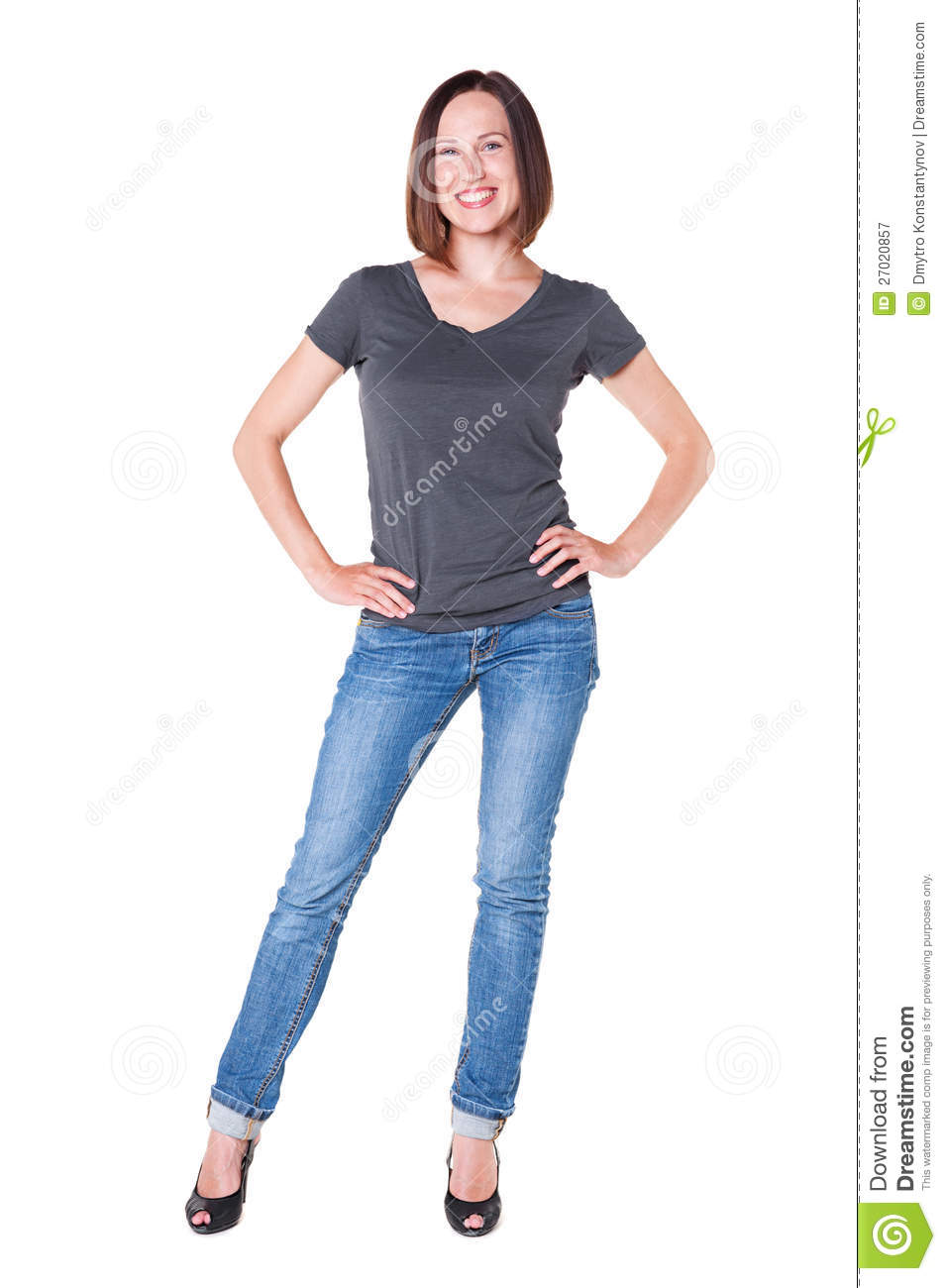 Smiley Girl In Grey T-shirt And Blue Jeans Stock Image - Image 27020857