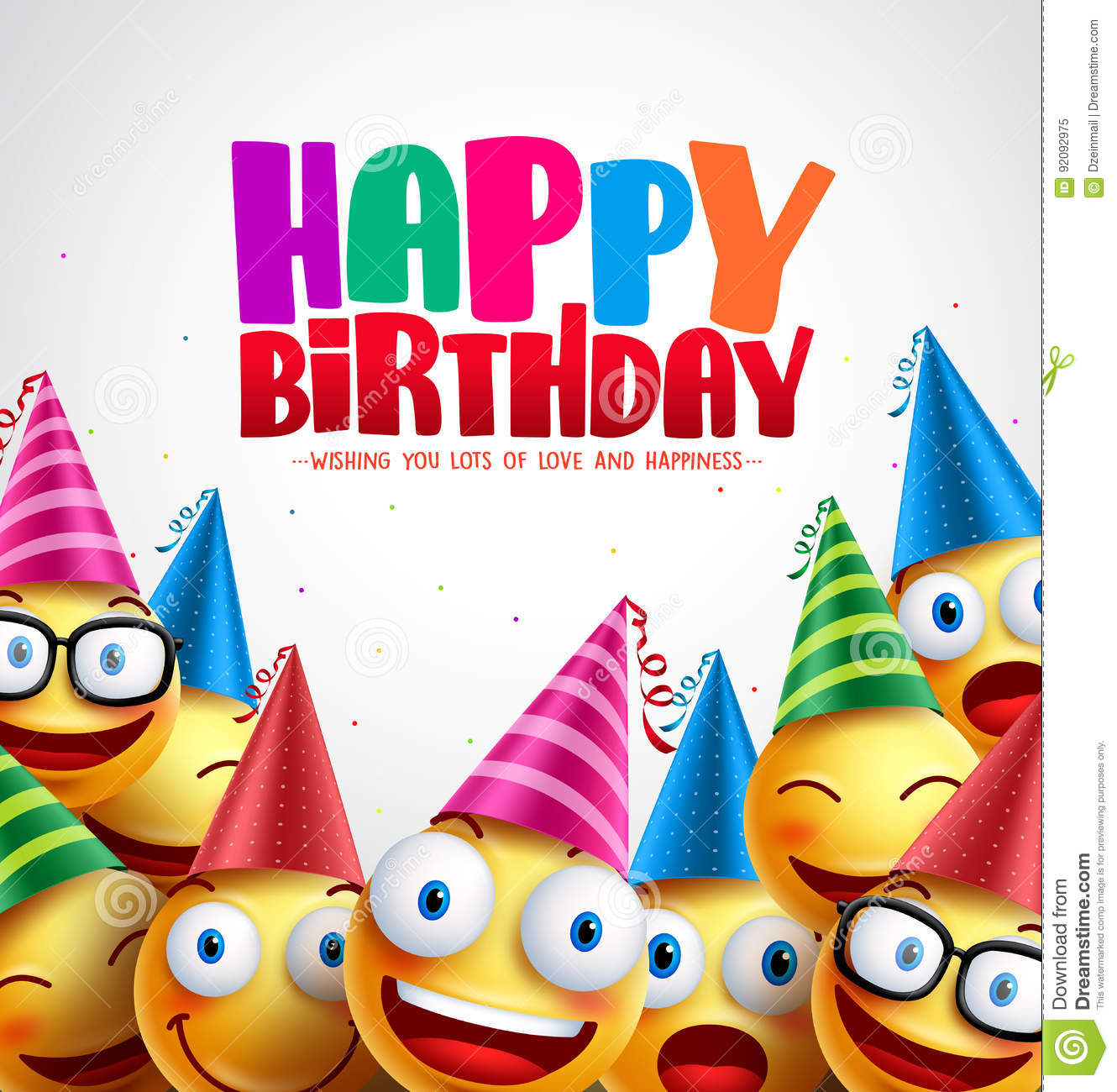 Smiley happy birthday greeting card colorful vector background
