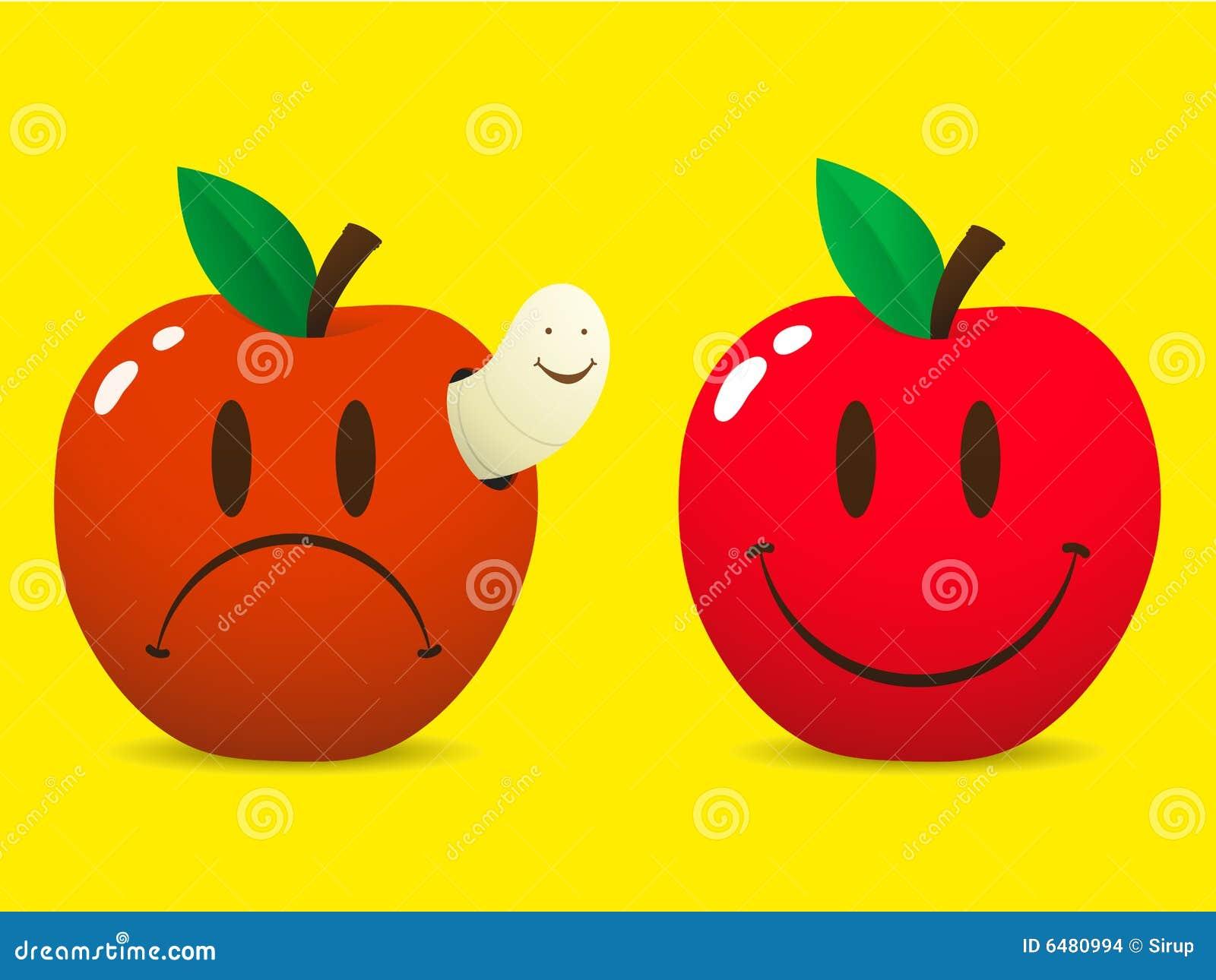 foto de Smiley Heureux Et Pomme Triste Illustration de Vecteur Illustration du cartoon rouge: 6480994