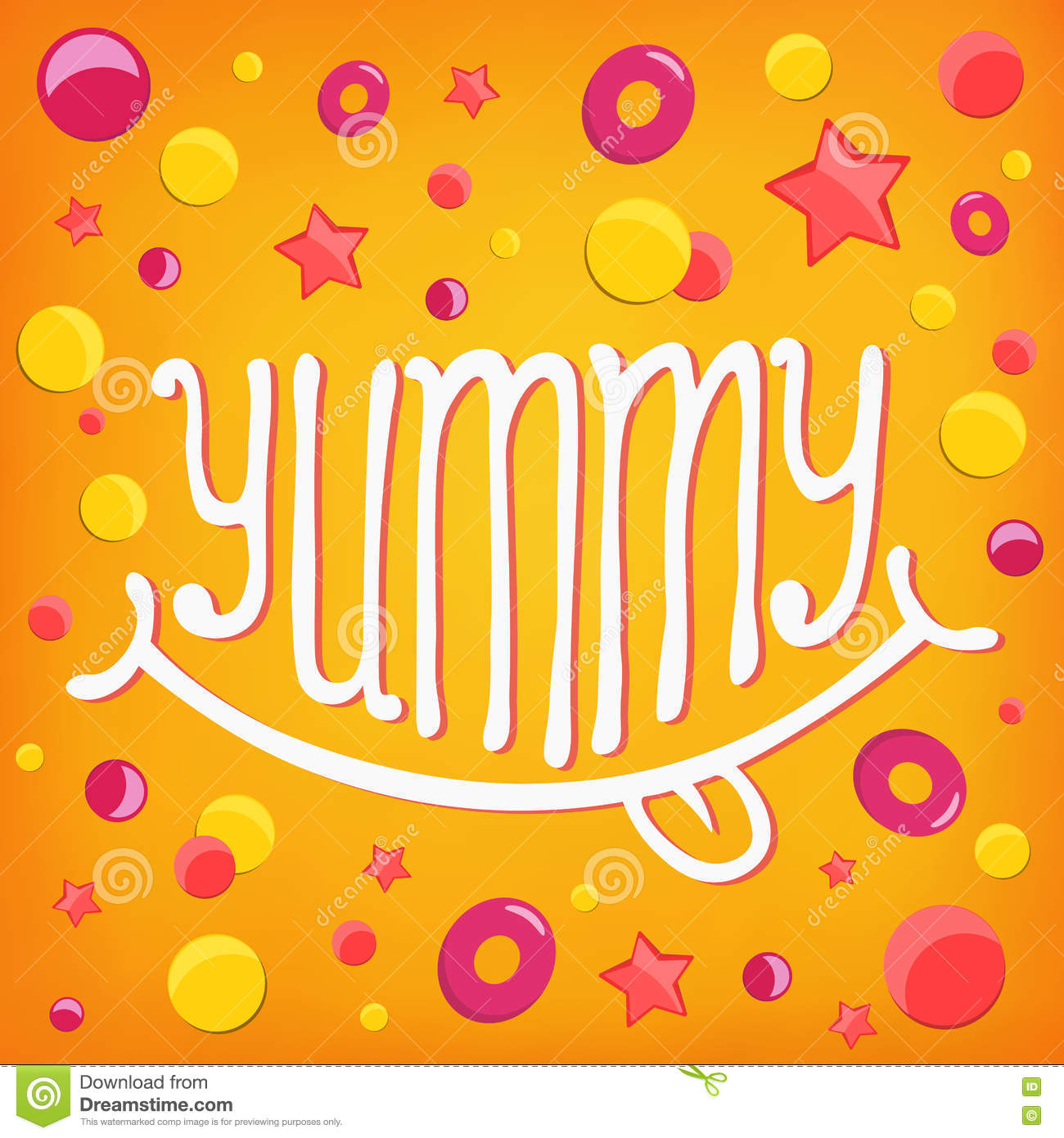 Smiley icon. Yummy lettering concept