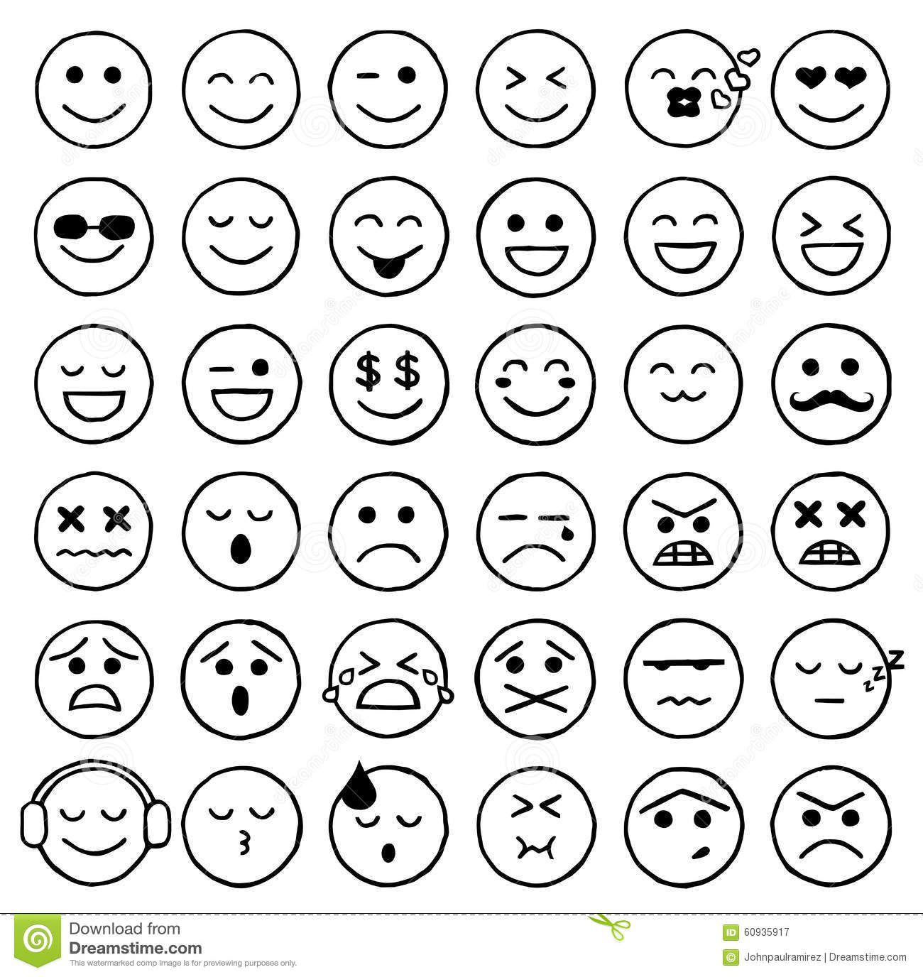 Smiley icons emoticons facial expressions internet stock vector image 6 - Smiley noir et blanc ...