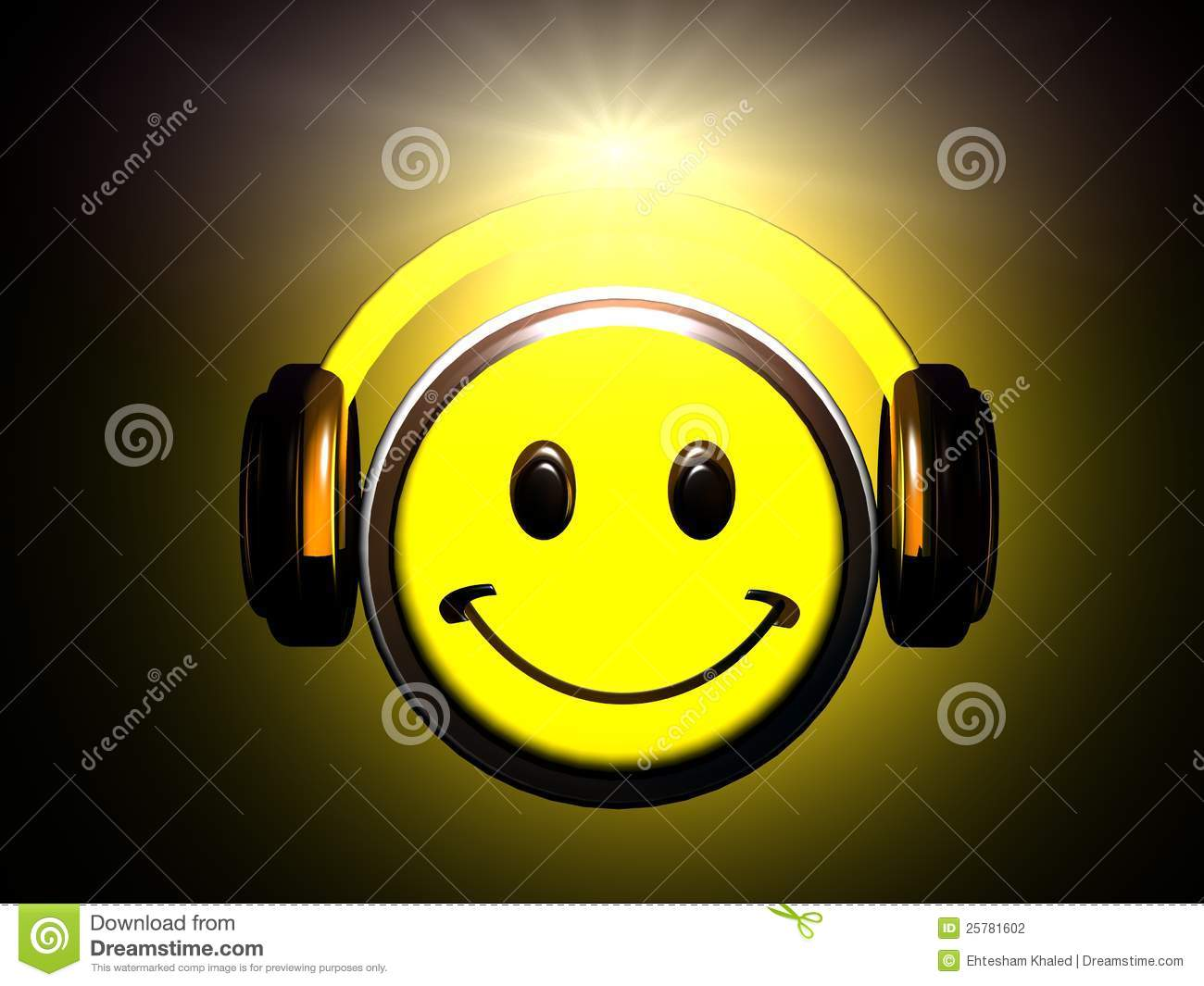 smiley listening music stock illustration  image of smiley