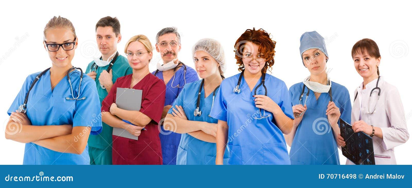 Smiley medisch team van acht mensen
