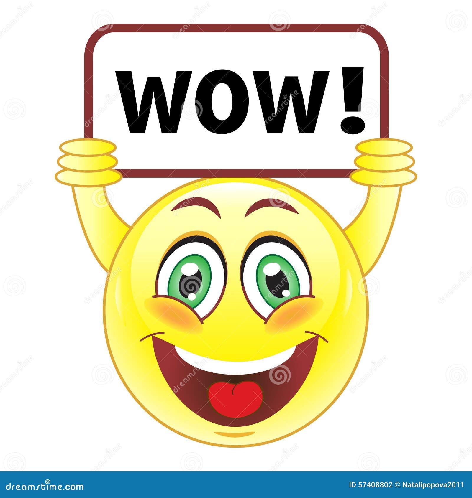 Smiley Mit Wow Zeichen Vektor Abbildung. Illustration Von