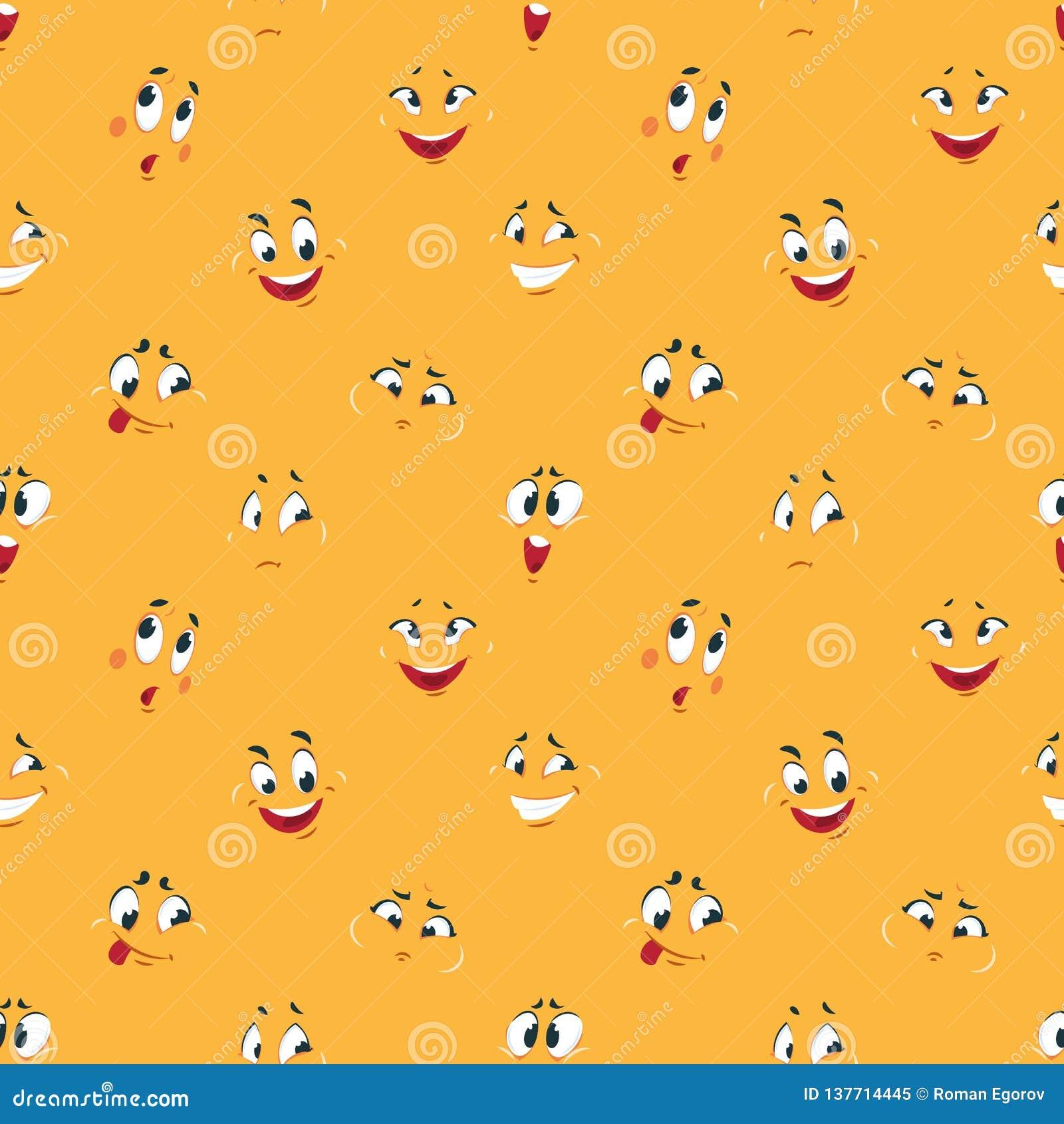 Smiley modell för tecknad film Tecknade filmer för uttryck för rolig galen lycklig gullig leendekarikatyr för framsidor vänder mo