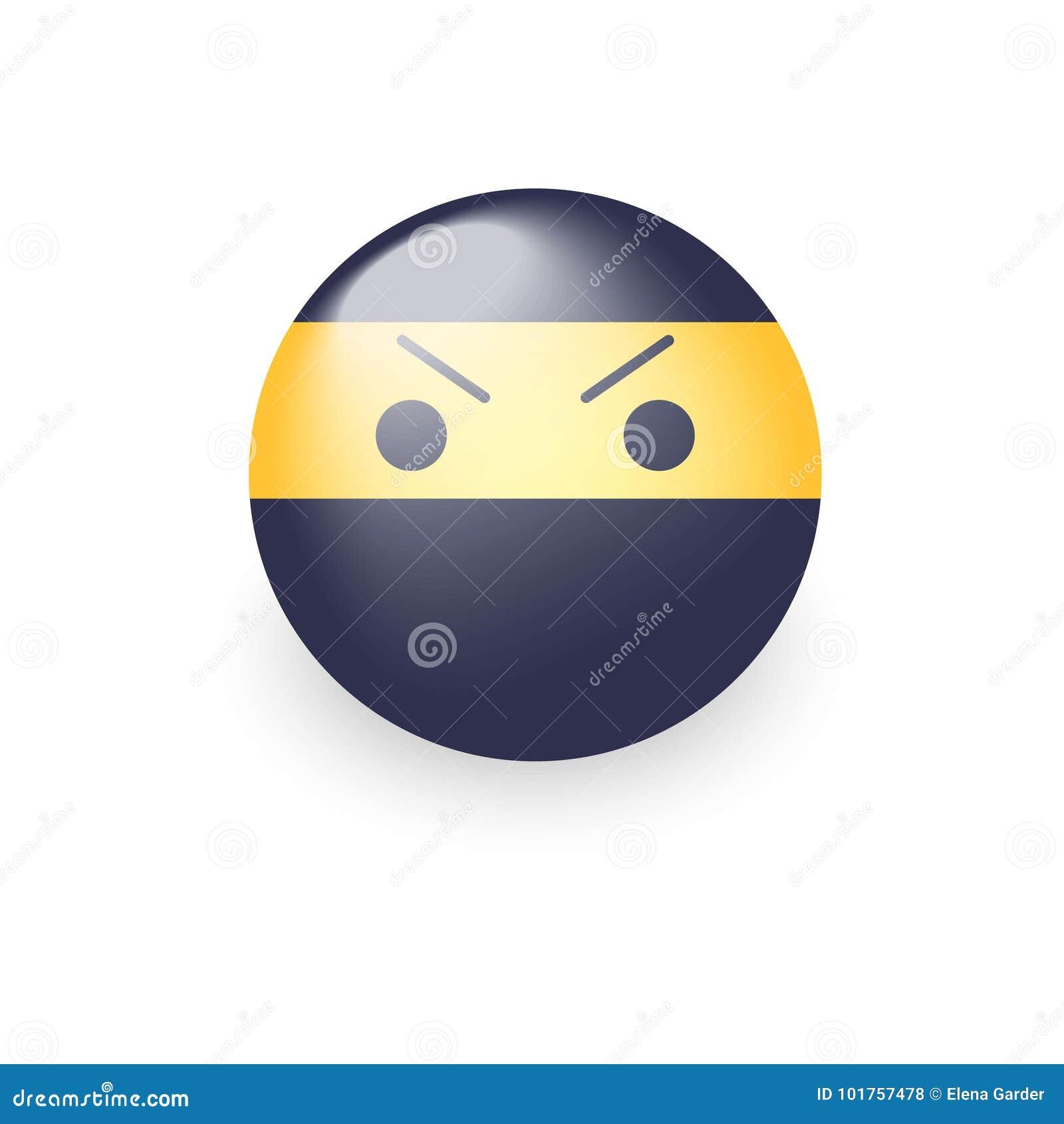 Smiley ninja z gniewną emoji twarzą Ninja kreskówki emoticon wektoru ikona