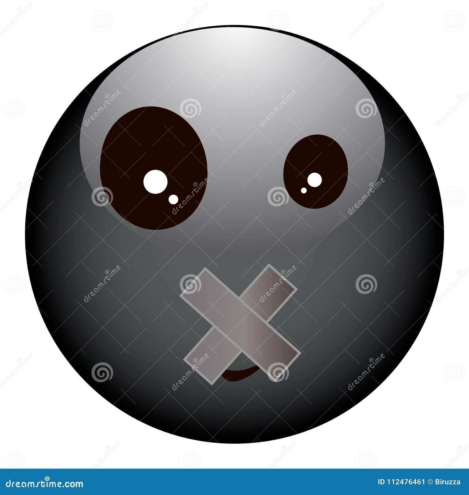 Smiley noir et dépressif avec une bouche scellée