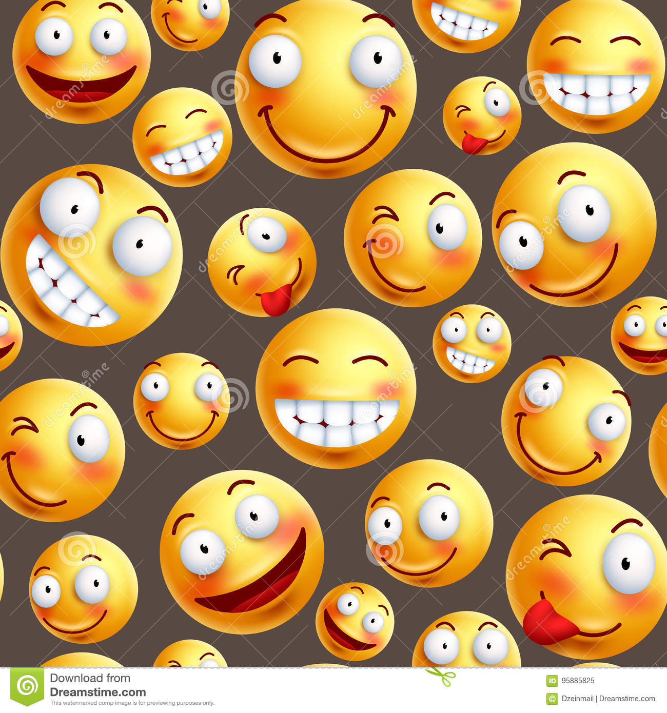 Smiley pattern vector background with continuous or seamless happy facial expressions