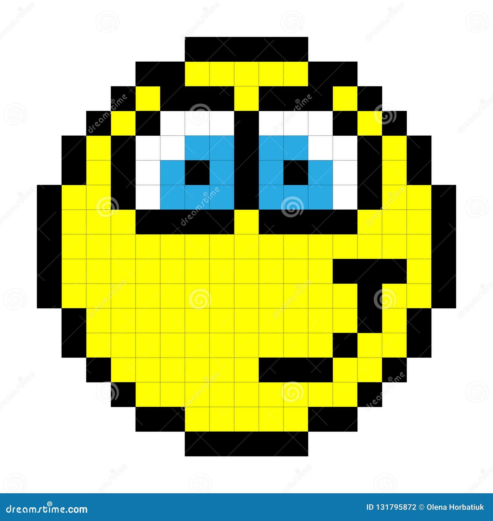 Smiley Pixel Art Style Sur Le Fond Blanc Vecteur
